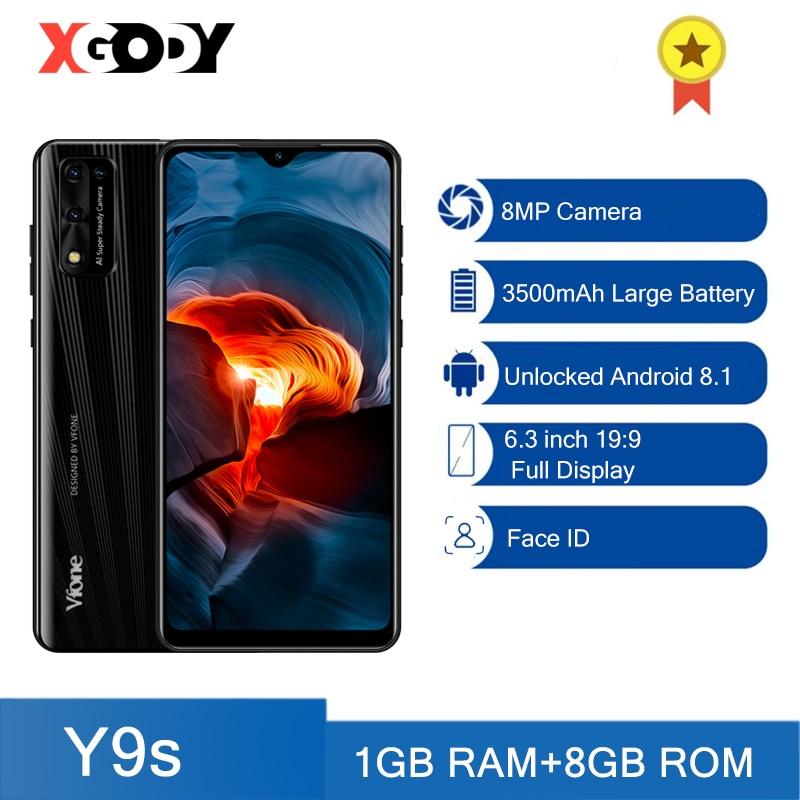 "XGODY 3G smartphone 8MP Camera Android Mobile phones 1GB 8GB 3500mAh 6.3"""" Cellphone Unlock 19:9 Dual SIM Face ID WiFi GPS Y9s"