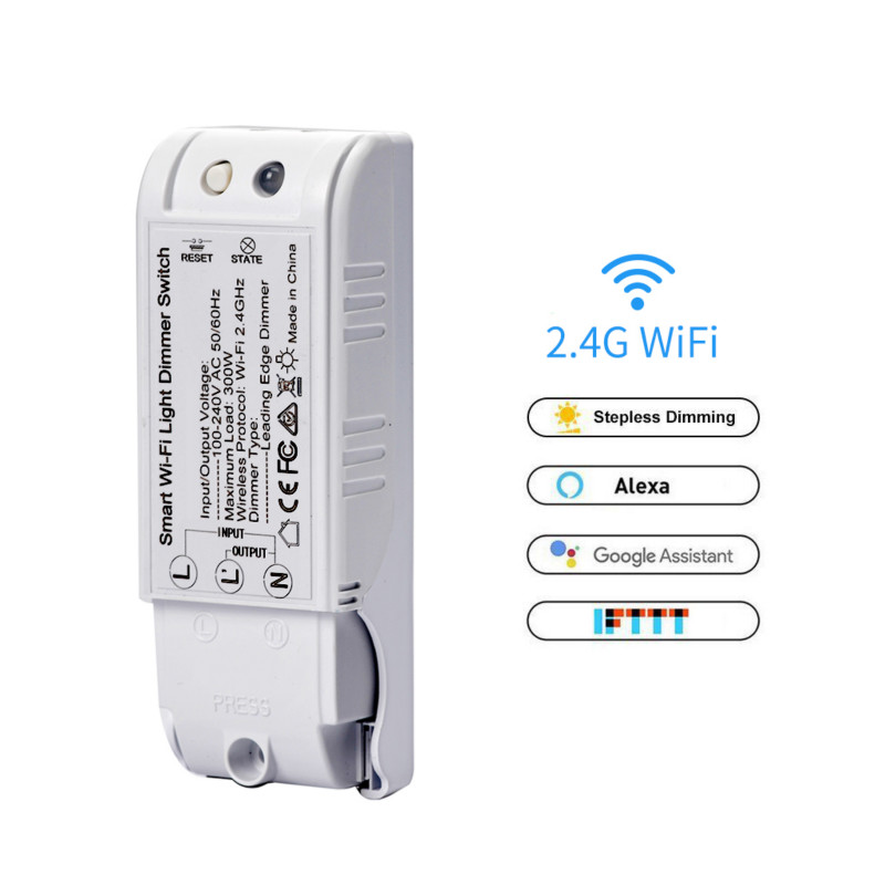 WiFi Smart Light Dimmer 2.4GHz Switch DIY Wireless Breaker Module Voice APP Remote Control Work with Tuya APP Alexa/Google Home