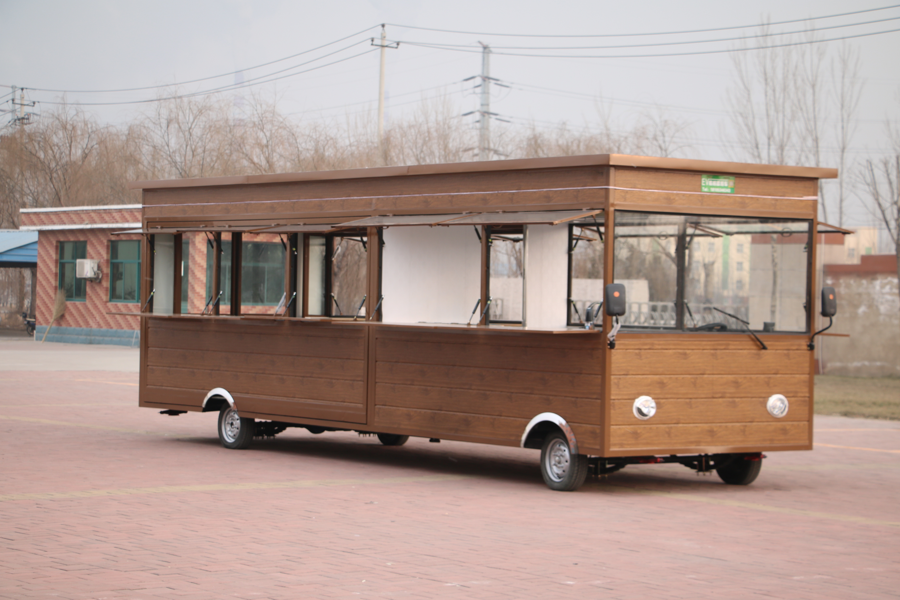 New Design Customized Food Trailer Mobile Fast Food Truck Customized Wooden Food Cart Trailer With Fast Delivery