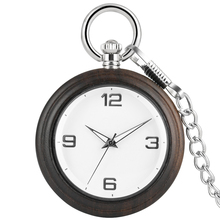 Concise Ebony Women Pocket Watch Necklace Chain Simple Dial Premium Alloy Rough Chain Pendant Watches Men Gift zakhorloge nature bamboo case quartz pocket watches delicate carving dial alloy pendant chain gift for unisex