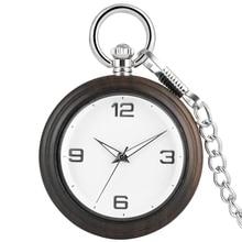 Concise Ebony Women Pocket Watch Necklace Chain Simple Dial Premium Alloy Rough Pendant Watches Men Gift zakhorloge