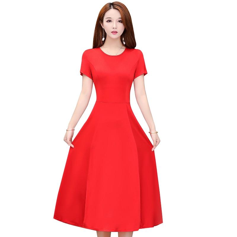 New Arrival 2020 Fashion Style Mid-Calf Dresses Short Sleeve Elegant Women Vestidos Party Long A-line Dress
