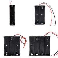 Caja de almacenamiento de batería de plástico 18650, contenedor de Clip con cable de plomo para batería 18650, 1, 2, 3 y 4 ranuras