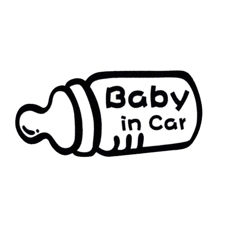 19.2*9 CENTÍMETROS Garrafa Criativo Modelagem Do Bebê No Carro Adesivos Sinais de Alerta Do Carro Styling Acessórios Do Carro Preto/Prata