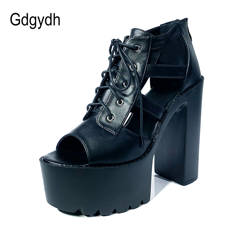 Gdgydh Crude Thick Bottom Platform Shoes For Women Extreme High Heels Sandals Nightclub Performance Shoes Female Black Gothic