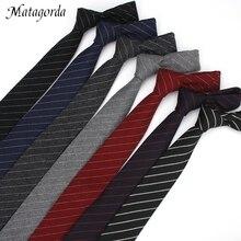Matagorda Wool Stripe Necktie Men Tie Wedding Gift Graduation Ceremony Men's Formal Party 6cm Neckwear Gravata