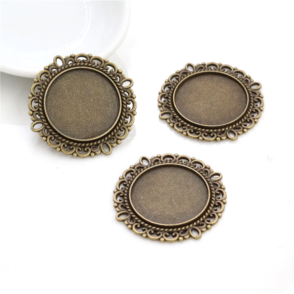 10pcs 20mm Inner Size Antique Bronze Classic Style Cabochon Base Setting Charms Pendant (D3-01)