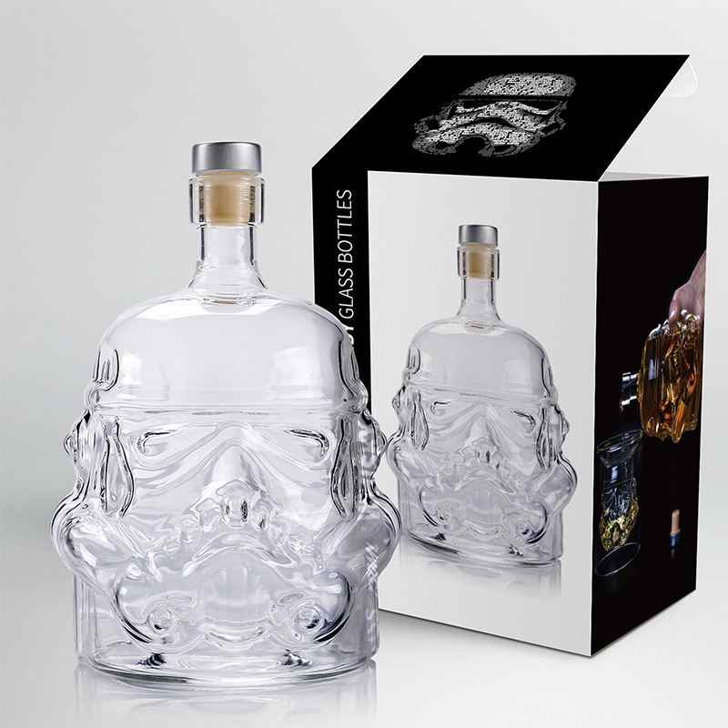650ml Star Wars White Soldier Glass Jug Storm Trooper Spirit bottle Empty Crystal Wine Glass Bottle Glass Cup Home Bar Tools