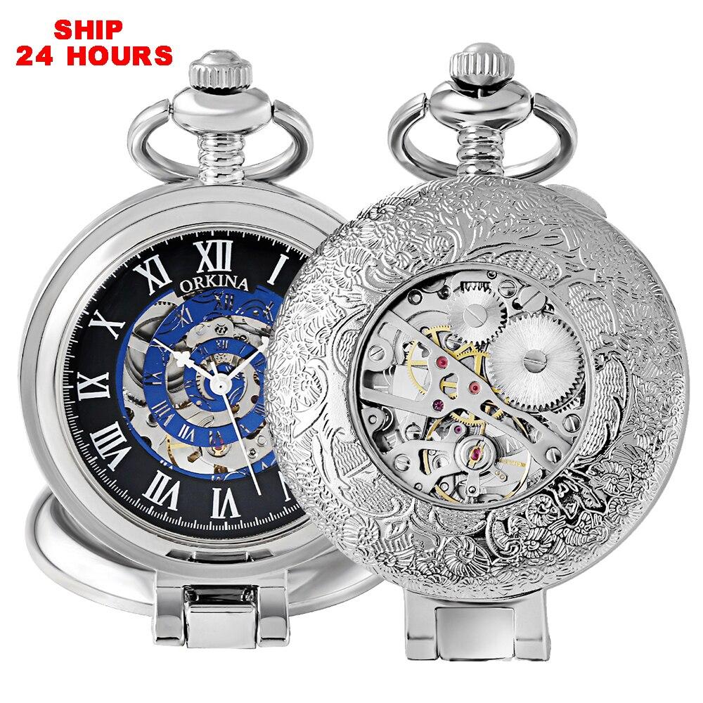 Standing Silver Skeleton Mechanical Pocket Watch Pocket Watches Necklace Fob Watch Pocket Clock Chain For Men Gift Ship 24 Hours
