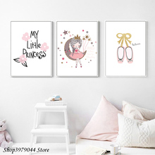 Girls Canvas Art Nordic Baby Girl Room Cartoon Poster Princess Nursery Prints Wall Pictures for Bedroom Unframed
