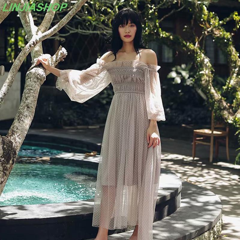 Vintage-special-interest-dot-summer-dress-women-elastic-waist-A-line-puff-sleeve-slash-neck-beach