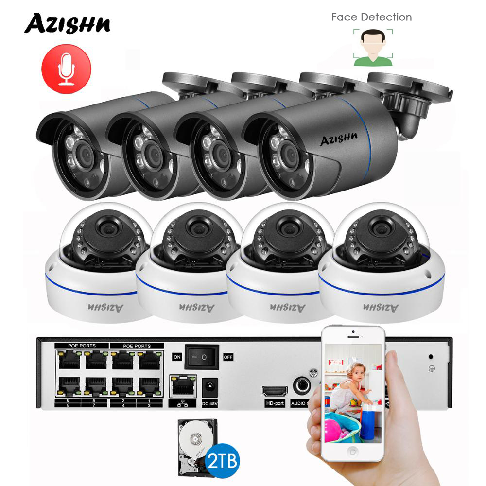 AZISHN Face Detection H.265+ 8CH 5MP POE NVR Kit Audio CCTV System 5MP Metal IP Camera P2P Indoor Outdoor Video Surveillance Set