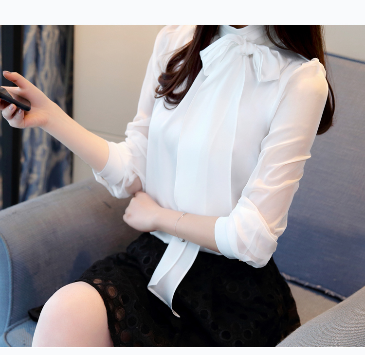 Long Sleeve Tie Bow Chiffon Turtleneck Blouse Shirt 2