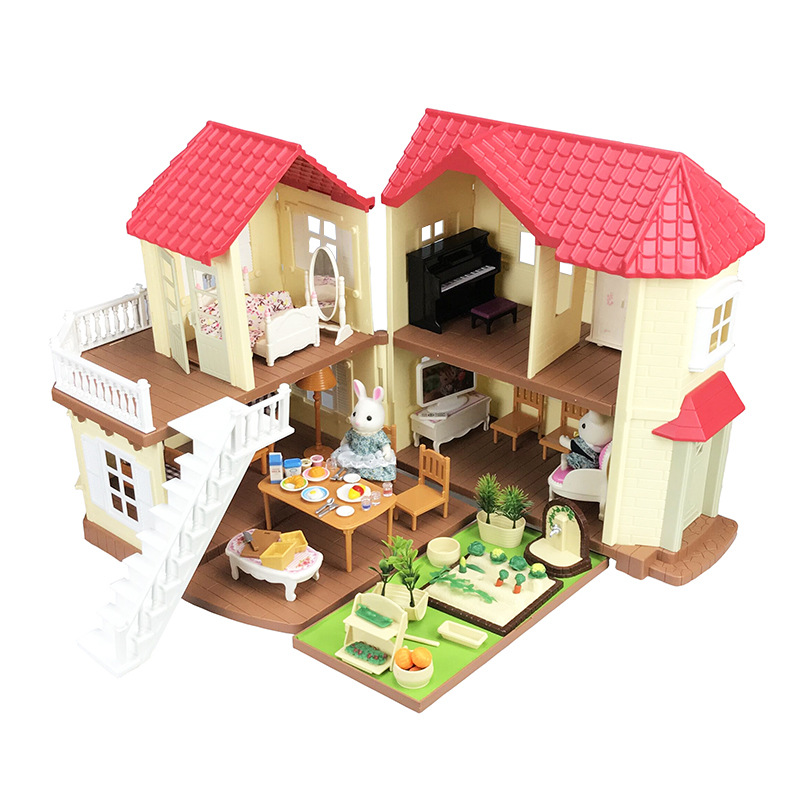 DIY Doll House Forest Lodge Villa Collocation Home Houses Surprise Dollhouse Furniture Kit Animal Family Toys Set Children Gift
