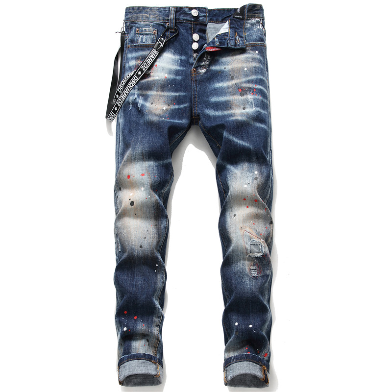 New Men Skinny Jeans Elastic Ribbon Ripped Jeans For Men Paint Male Trousers Clothes Streetwear Spring Autumn Winter Hip Hop