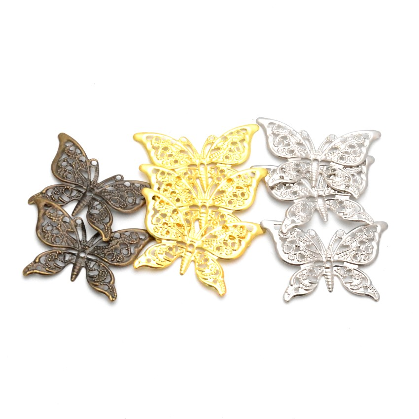Free Shipping Retail 10Pcs Butterfly Filigree Wraps Connectors Metal Crafts Gift Decoration DIY 39x26mm