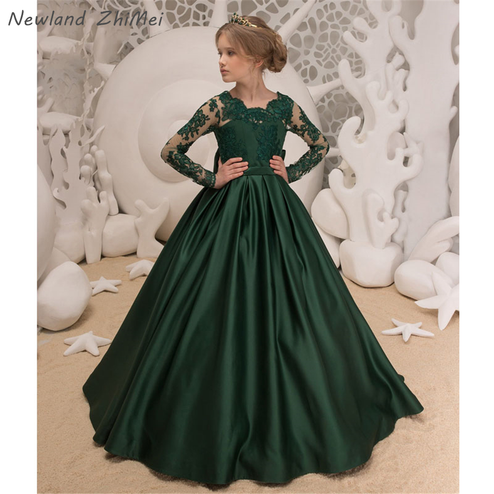 Dark Green Flower Girl Dress New Fashion Long Sleeves A Line Applique Satin Bow Primera Comunion Holy Communion Dresses OEM