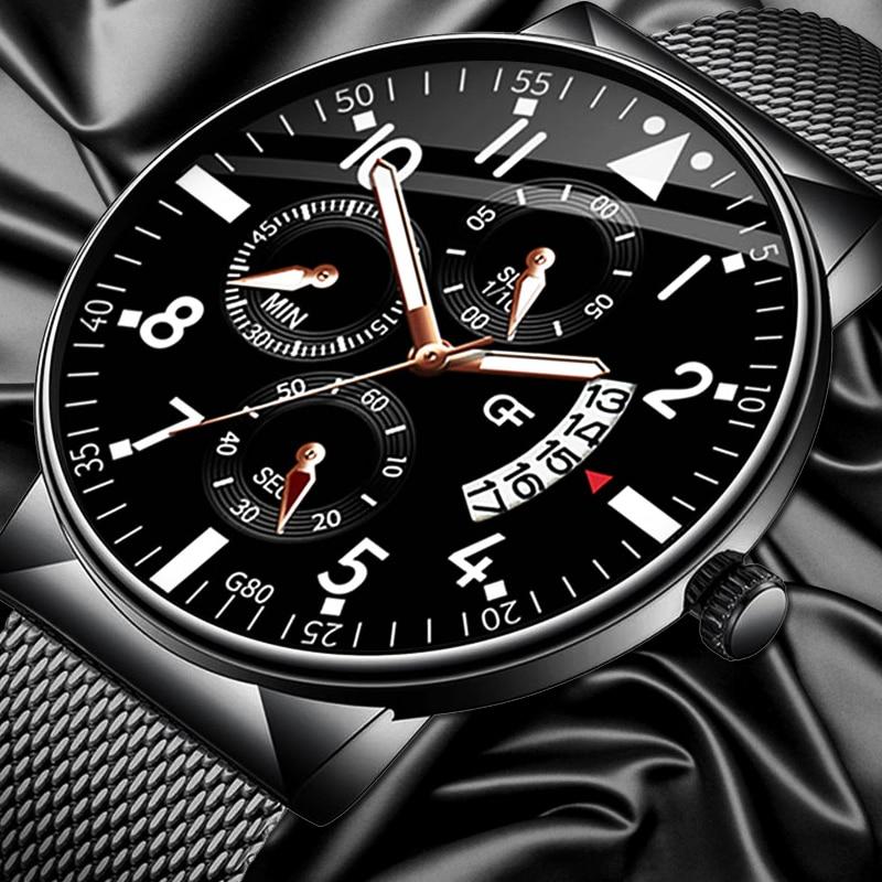 Relogio Masculino Men's Fashion Casual Calendar Watches Stainless Steel Mesh Band Watch Men Business Luminous Quartz Wrist Watch