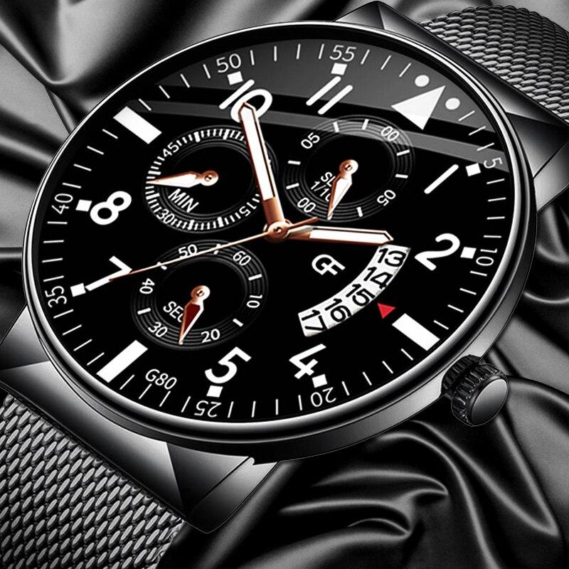 Relogio Masculino Men's Watches Luminous Casual Calendar Watches Stainless Steel Mesh Band Watch Men Business Quartz Wrist Watch