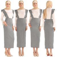Fashion Women's Belt Skirt Overalls Dress Muslim Bottoms Long Pencil Skirt Ramadan Party Islamic Clothing