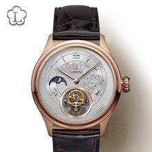 LOBINNI швейцарский бренд Tourbillon Механические Мужские наручные часы кожаный ремешок Скелет Мужские часы водонепроницаемые 50 м мужские часы