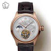 Schweiz Marke Tourbillon Mechanische Männer Armbanduhren Leder Armband Skeleton Männliche Uhr Wasserdicht 50M Männlichen uhr