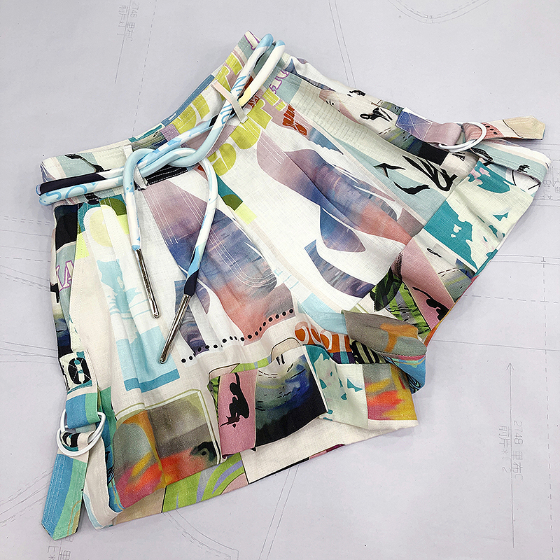 Top Quality Linen Shorts 2020 Spring Summer Beach Style Runway Fashion Printed High Waist Short Trousers