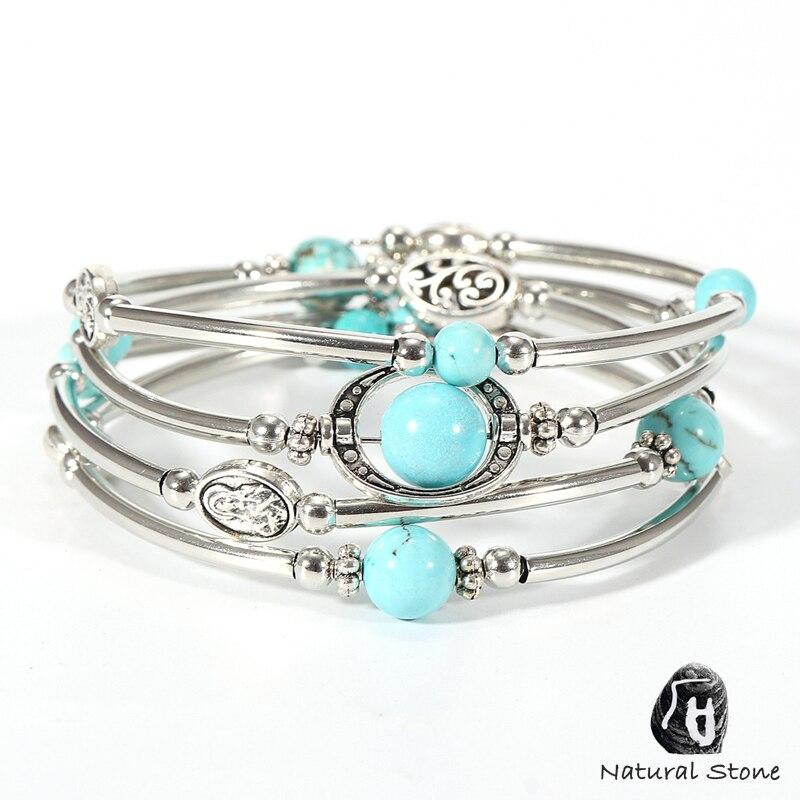 Women Men Natural Stone Bracelets Multilayer Copper Tube Lave Rock Tiger Eye Pearl Onyx Beads Yoga Bracelet Bangle Boho Jewelry