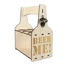 6 Slots DIY Wooden Beer Bottle Carrier With Opener Boards Handle Drink Holder For Bar Restaurant Party Kitchen Storage(China)