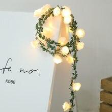 Guirnalda de luces Led de ratán de 1m y 3m, cadena de rosas, decoración de boda, cumpleaños, Día de San Valentín, decoración de flores de boda para mesa