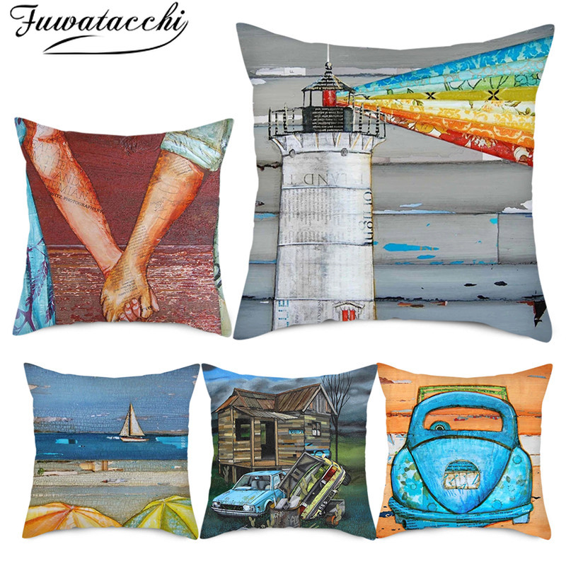 Fuwatacchi Summer Scenery Oil Painting Cushion Cover Cartoon Sea Bicycle Throw Pillow Cover For Home Sofa Car Chair Pillowcases