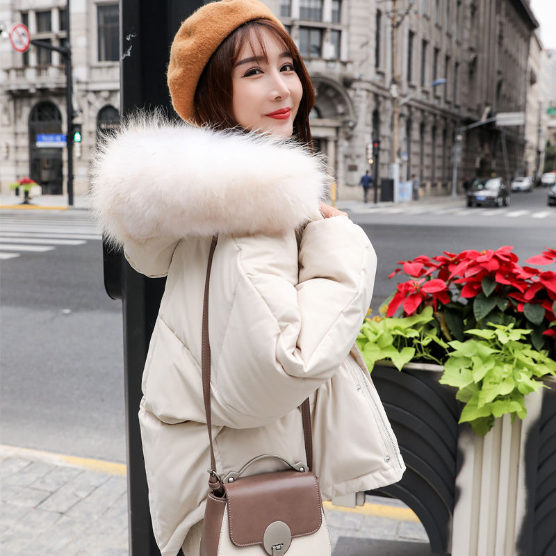 Winter Warm 90% White Duck Down Parka Women Large Real Raccoon Fur Collar Hooded Short Jacket Coat Loose Down Outwear