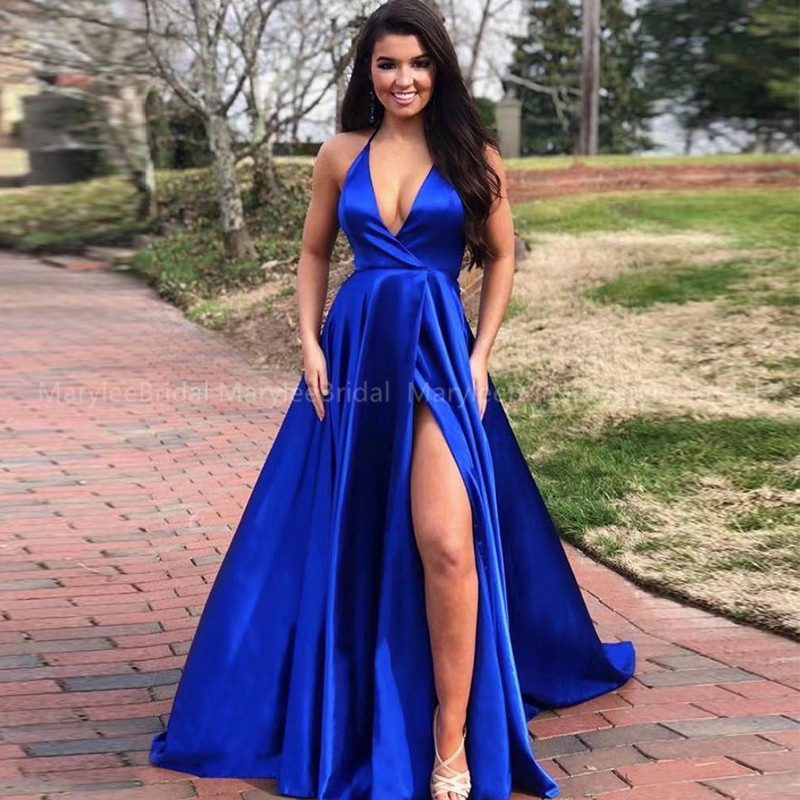 Simple Robe De Soiree Halter Royal Blue Evening Dress A-line High Slit Girls Formal Party Dress Crisscross Back Vestido De Festa