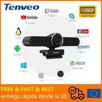 [Stock Europeo] Libre de impuestos FHD 1080p 30Fps cámara Web USB PC con micrófono y altavoz cámara Web para vivir Streaming de Video llamando a 124 ° campo de visión (Fov)
