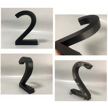 Black Metal 3D Modern House Numbers Sign 0-9 ABC Outdoor Waterproof Hotel Stainless Steel Lettre Addresss Door Sign Name Plates недорого