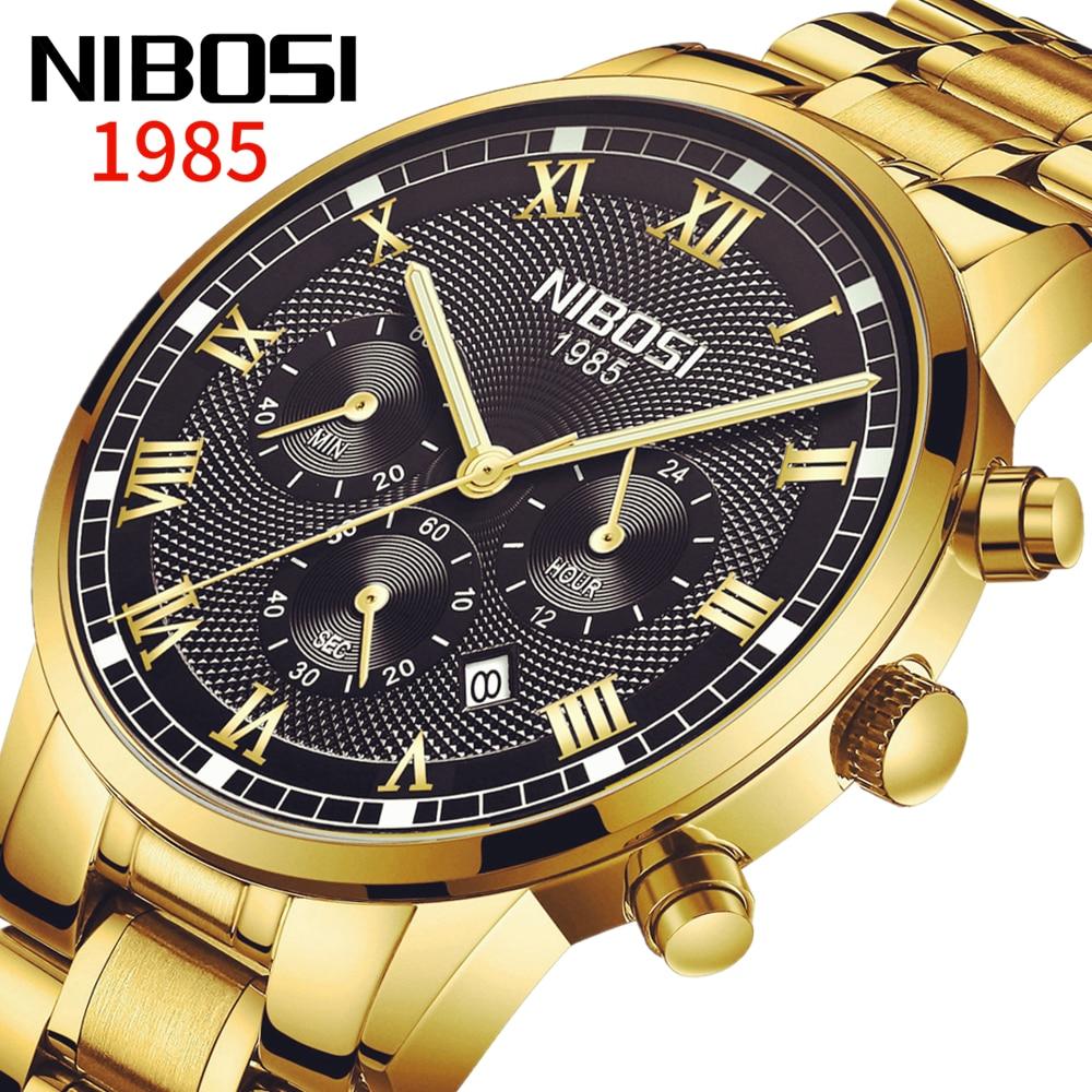 Часы наручные NIBOSI Мужские кварцевые, модные брендовые Роскошные водонепроницаемые полностью стальные деловые с хронографом