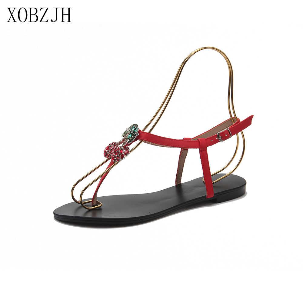 Sandalias planas de verano zapatos de mujer 2019 sandalias de diseñador de marca de lujo negro rojo oro cordones de diamantes de imitación G sandalias zapatos de mujer s