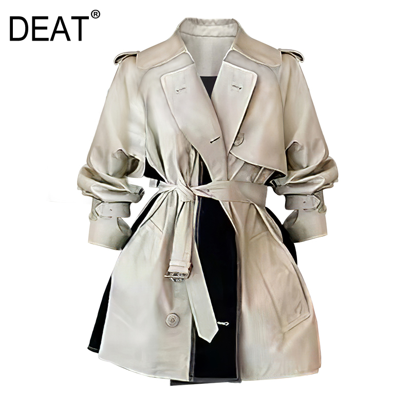 DEAT 2020 new spring fashion women clothes turn-down collar full sleeves contrast colors double breasted short jacket WL62104L