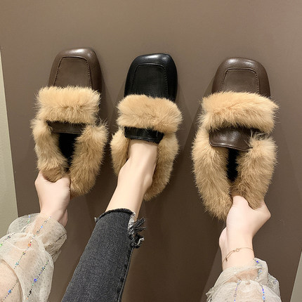 2019 autumn new Korean literary retro style fashion simple square head rabbit hair comfortable half slippers 21
