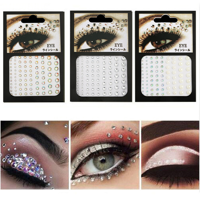 2020 Fashion Women Tattoo Diamond Makeup Eyeliner Eyeshadow Face Sticker Jewel Eyes Makeup Crystal Eyes Sticker 1
