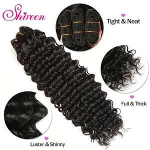 Image 4 - Shireen מלזי עמוק גל חבילות עם סגירת רמי שיער טבעי וויבס 3/4 חבילות עסקות עם תחרה 4*4 סגירת שיער הארכת