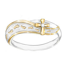New Creative Footprint Scrub Cross Ring Copper Plated Gold Separation Lady Ring Women's Engagement Ring(China)