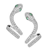 High-quality fashionable snake micro-zircon ear studs suitable for women/girls wedding party jewelry ear clips ER-353