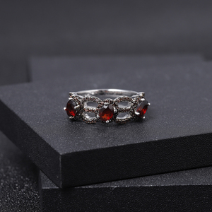 Image 2 - GEMS BALLET 1.35Ct Natural Red Garnet Antique Style Three Stone Ring 925 Sterling Silver Gemstone Rings For Women Fine Jewelry