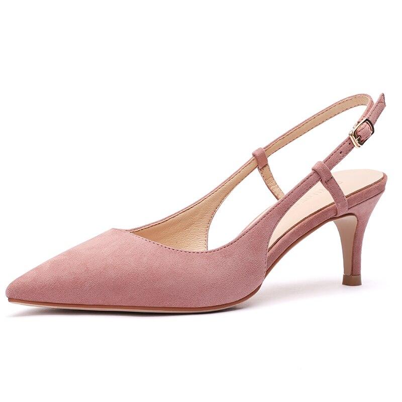Shoes Woman 2019 Spring 6cm High Heels Slingbacks Shoes Female Thin High Heels Pint Toe Flock Women's Shoes Summer Sandals Heel