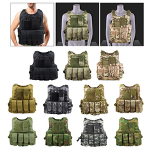 Men Military Tactical Vest Paintball Camouflage Molle Hunting Vest Shooting Hunting Adjustable Suspension Straps w/ Molle Pouch