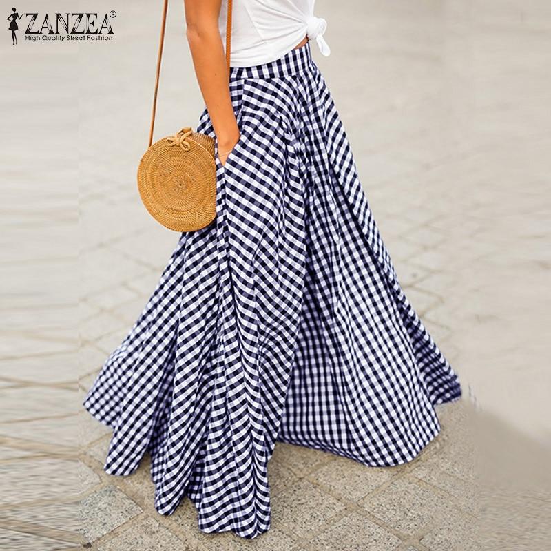 ZANZEA Plus Size Long Skirt Women Zipper Pleated Skirts Ladies Plaid Check Pockets Loose Long Maxi Faldas Femme Bohemian Jupe