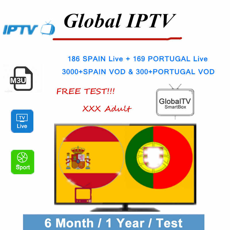 Espanha Portugal Global IPTV assinatura m3u França Países Baixos Portugal REINO UNIDO Polónia Árabe Adulto Android tv Box Smart TV 1 ano 8000