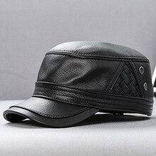 H3512 мужская кожаная кепка с козырьком, Мужская Уличная Повседневная Кепка с плоским верхом из овчины, Высококачественная модная кепка для отдыха в Корейском стиле, осенне-зимняя теплая Кепка s