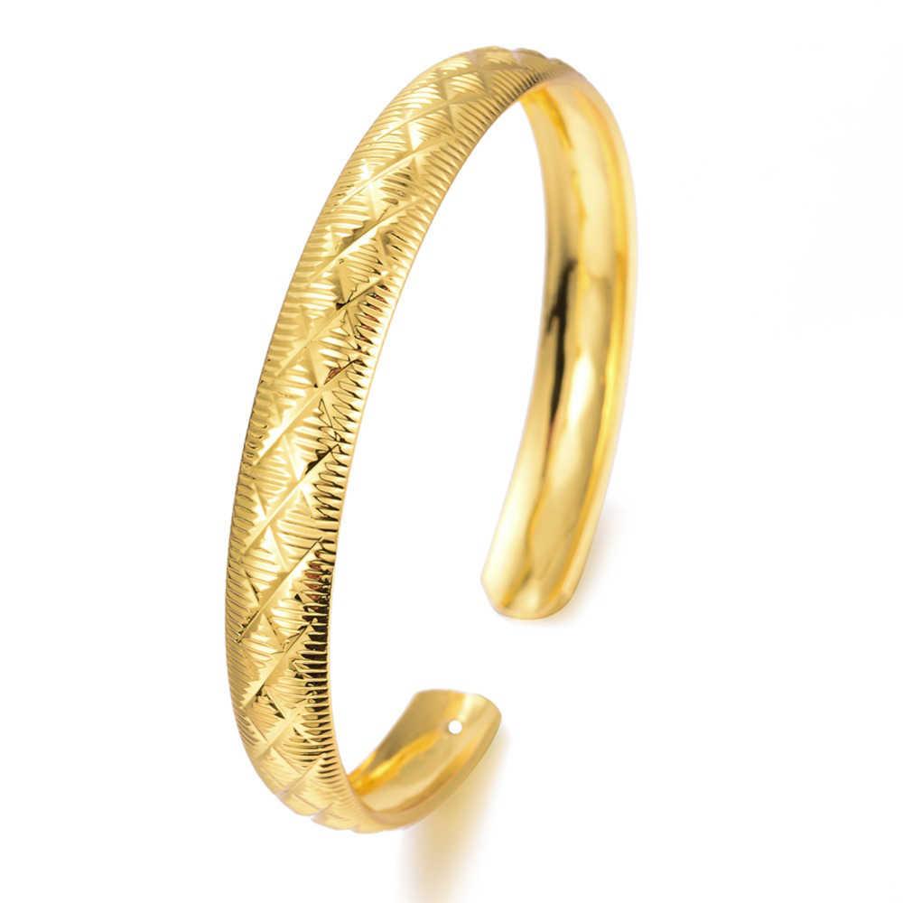 WANDO สีทองกำไลข้อมือสำหรับสตรีสาวแอฟริกันอาหรับตะวันออกกลางเครื่องประดับของขวัญวันเกิดสามารถเปิด B97